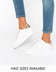 Asos Davius Velcro Novelty Trainers White Pu W Gold