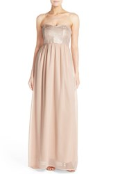 Paper Crown Women's By Lauren Conrad 'Breanna' Lace Bodice Crepe Gown Rose Gold Blush Chiffon