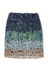 French Connection Cosmic Beam Sequin Skirt Blue