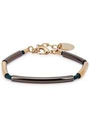 Anton Heunis Sisa Simple Teal Leather Bracelet Gunmetal