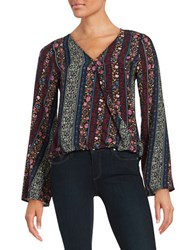 Design Lab Lord And Taylor Patterned Surplice Blouse Blue Multi