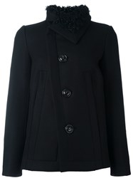 Dsquared2 Diagonal Cut Shearling Peacoat Black