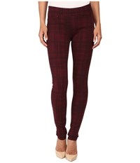 Liverpool Quinn Pull On Leggings Sketch Windowpane Port Wine Women's Jeans Red