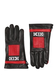 Ktz Two Tone Embroidered Leather Gloves