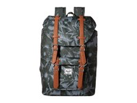 Herschel Little America Mid Volume Jungle Floral Green Tan Synthetic Leather Backpack Bags Black
