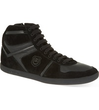 The Kooples Leather And Suede Hi Top Trainers Black