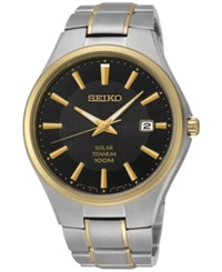 Seiko Men's Solar Two Tone Titanium Bracelet Watch 40Mm Sne382