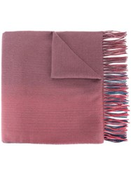 Paul Smith Ps By Degrade Fringed Scarf Pink Purple