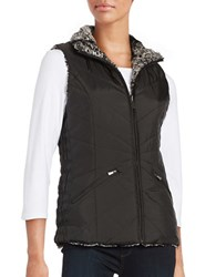 Weatherproof Faux Fur Reversible Vest Black