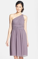 Women's Donna Morgan 'Rhea' One Shoulder Chiffon Dress Grey Ridge