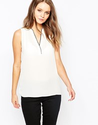 New Look Sleeveless Shirt With Contrast Binding Winterwhite