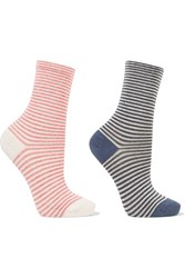 Falke Set Of Two Striped Stretch Cotton Blend Socks Storm Blue