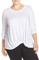 Zella Plus Size Women's 'Twisty Turn' Long Sleeve Tee White