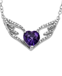 Macy's Sterling Silver Necklace Amethyst 1 1 8 Ct. T.W. And Diamond Accent Heart And Wings Pendant