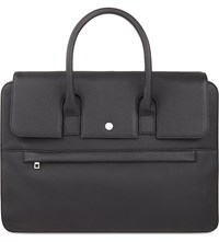 Reiss Liston Grained Leather Briefcase Black