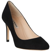 Lk Bennett L.K. Sasha Round Toe Court Shoes Black Suede