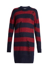Stella Mccartney Distressed Striped Mohair And Wool Blend Sweater Blue Multi