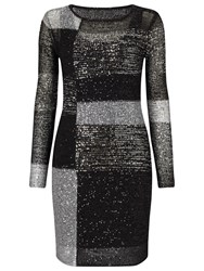 Phase Eight Juana Blocked Sequin Dress Black Multi