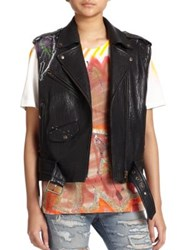 Faith Connexion Bubble Graffiti Painted Leather Motorcycle Vest Black