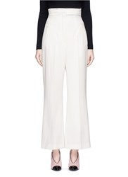 Lanvin Wool Twill High Waist Flared Pants White