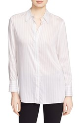 Alice Olivia Women's Stripe Shirt Off White Black Pinstripe