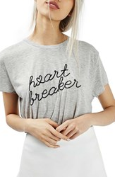Topshop Women's By Tee And Cake Heartbreaker Split Back Tee