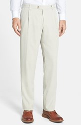 Men's Tommy Bahama 'Havana' Pleated Herringbone Silk Blend Pants Khaki Sands