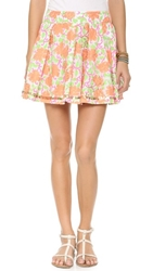 Juliet Dunn Floral Bubble Skirt Neon Orange Neon Pink