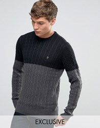 Farah Jumper With Cable Knit Exclusive Black Charcoal Grey