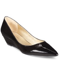 Bandolino Yara Pointed Toe Demi Wedges Black Patent