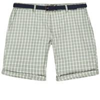 River Island Mens Green Checked Belted Shorts