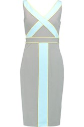 Raoul Iora Embellished Satin Trimmed Twill Dress Gray