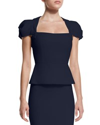 Roland Mouret Galaxy Cap Sleeve Peplum Top Navy