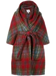 Delpozo Tartan Robe Coat Red