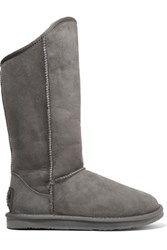 Australia Luxe Collective Cosy Tall Shearling Lined Suede Boots Dark Gray