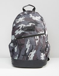 Heist Grey Camo Backpack With Leather Look Trims Grey