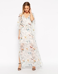 Traffic People Birds Of A Feather Kaftan Maxi Dress Cream