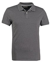 Pier One Polo Shirt Dark Grey Melange Mottled Dark Grey