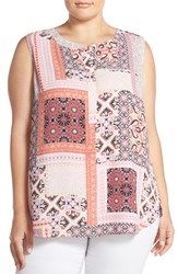 Plus Size Women's Nydj Print Pleat Back Sleeveless Top Arabesque Patchwork Pink