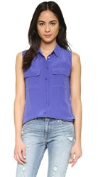 Equipment Sleeveless Slim Signature Blouse Biro Blue Multi