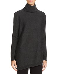 Eileen Fisher Turtleneck Asymmetric Wool Sweater Charcoal