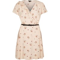 River Island Womens Light Pink Floral Print Belted Dress
