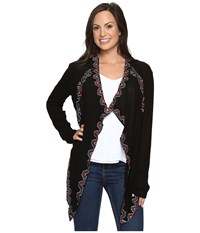 Rock And Roll Cowgirl Long Sleeve Cardigan B4 6404 Black Women's Sweater