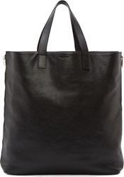 Saint Laurent Black Leather Silver Zip Rider Shopping Tote