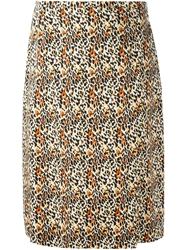Jean Louis Scherrer Vintage Animal Print Pencil Skirt Multicolour