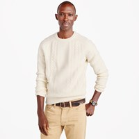 J.Crew Wool Cable Crewneck Sweater In Ivory