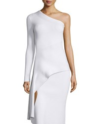 Cushnie Et Ochs One Sleeve Asymmetric Knit Top White