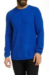 Autumn Cashmere Tonal Skull Stitch Crew Neck Sweater Blue