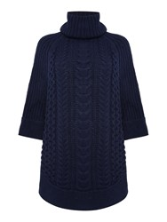 Joules Cable And Stitch Poncho Navy