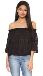 Rebecca Taylor Embroidered Gauze Top Black